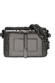 Natalia mini metallic python shoulder bag