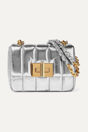 Natalia large metallic quilted leather shoulder bag