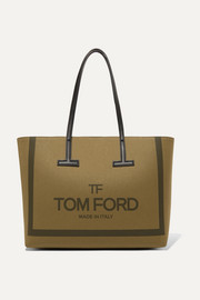 TOM FORD T medium leather-trimmed printed cotton-canvas tote