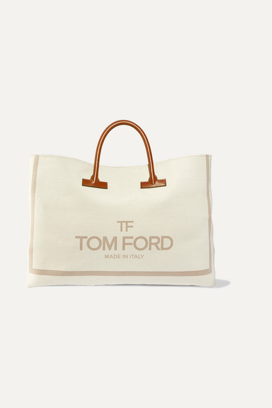 t-leather-trimmed-printed-canvas-weekend-bag by tom-ford