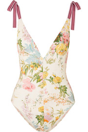 Zimmermann Heathers grosgrain-trimmed floral-print swimsuit