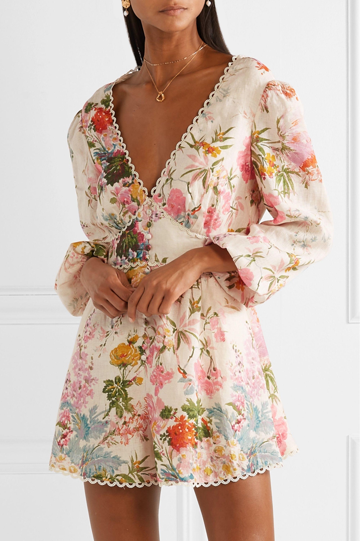 Zimmermann Heathers picot-trimmed floral-print linen playsuit