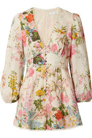 Zimmermann Heathers picot-trimmed floral-print linen playsuit