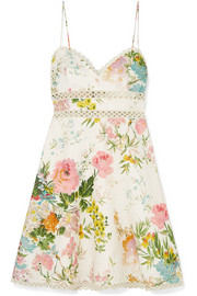 Heather lace-trimmed floral-print linen mini dress