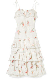 Heathers lace-trimmed tiered pintucked floral-print cotton-voile dress