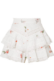 Zimmermann Heathers lace-trimmed ruffled floral-print cotton-voile shorts