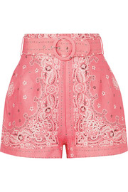 Zimmermann Printed belted linen shorts