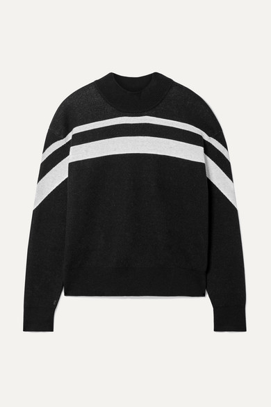 Cashmere-Blend Intarsia Striped Pullover Sweater in Black