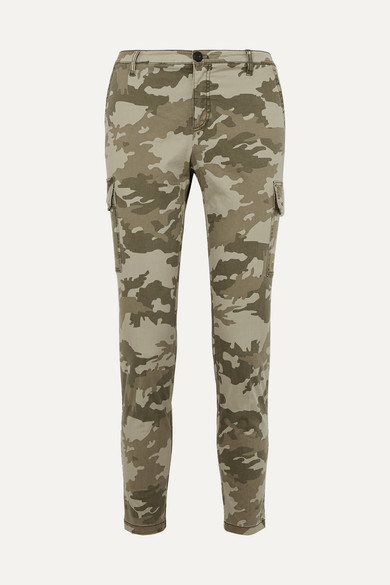 Camouflage Cotton Slim Cargo Pants - Green Size 10