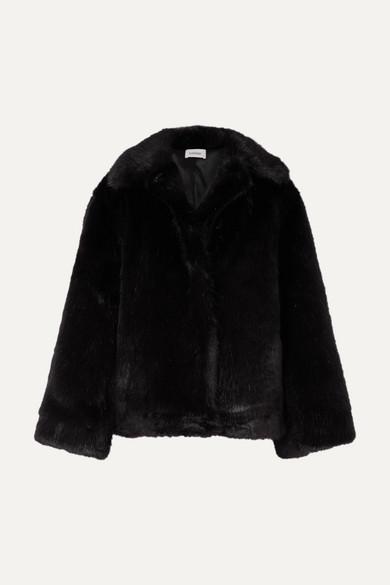 TOTÊME | Totême - Châtel Oversized Faux Fur Jacket - Black | Goxip