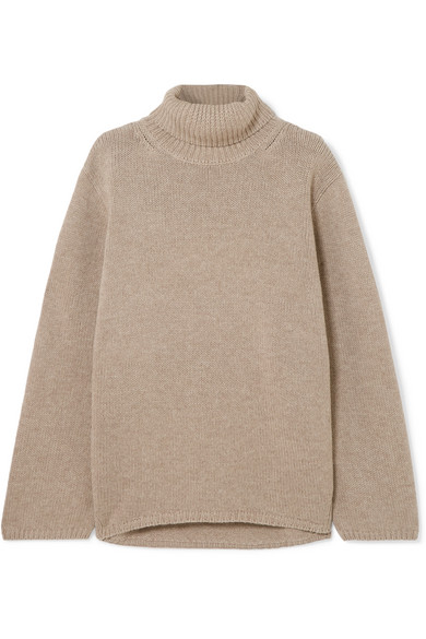 Cambridge Merino Wool And Cashmere-Blend Turtleneck Sweater in Beige