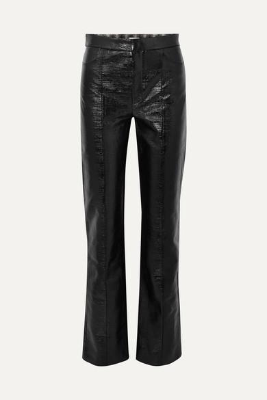 Olbia Coated Cotton Blend Straight Leg Pants by Totême