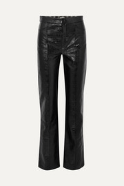 Olbia coated cotton-blend straight-leg pants
