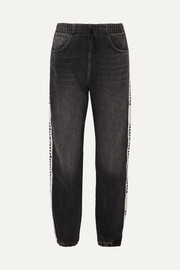 Grosgrain-trimmed denim tapered track pants