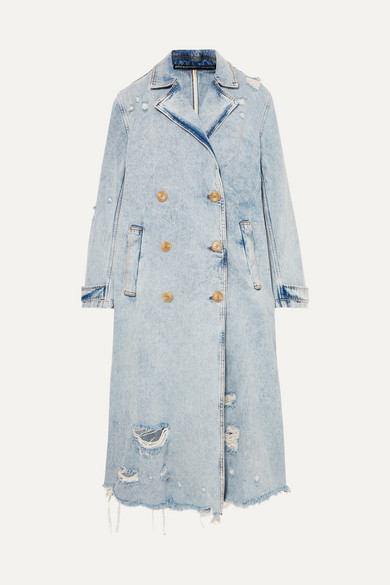 Alexander Wang Coats Distressed denim trench coat