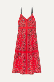Alexander Wang Leather-trimmed printed silk midi dress
