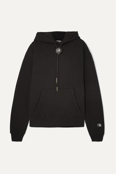 Embellished Cotton-Blend Jersey Hoodie in Black