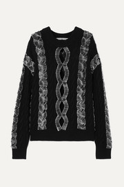 Alexander Wang Embellished cutout cable-knit sweater