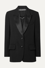 Alexander Wang Embellished silk satin-trimmed wool blazer
