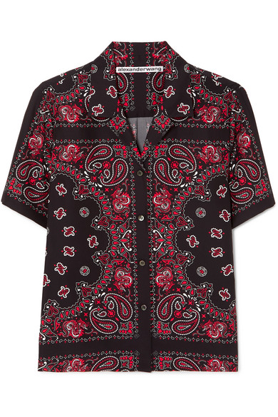 Black Red Silk Bandana Print Button Down Shirt