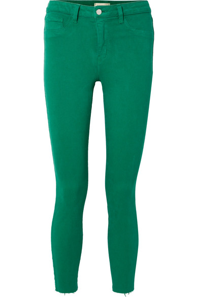 L'Agence - Margot Cropped High-rise Skinny Jeans - Green