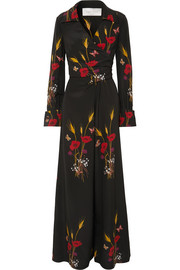 Wrap-effect printed silk-georgette jumpsuit