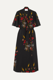 Valentino Tie-neck floral-print silk-jersey wrap dress