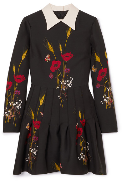 Valentino Floral-Print Wool And Silk-Blend Mini Dress In Black
