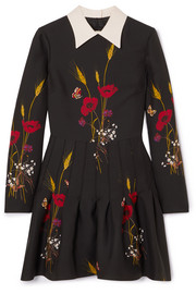 Floral-print wool and silk-blend mini dress
