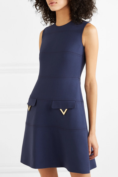 Valentino Dress Embellished grain de poudre wool dress