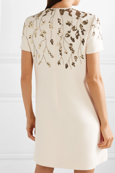 Valentino Dress Embellished wool and silk-blend mini dress