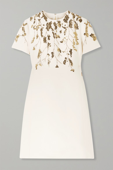 Valentino Dresses Embellished wool and silk-blend mini dress