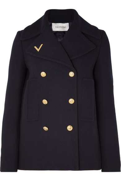 Valentino Coats Embellished double-breasted wool peacoat