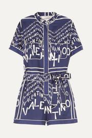 a2c4963ed2 Valentino Printed silk-twill playsuit