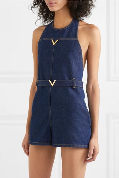 Valentino Suits Embellished denim halterneck playsuit