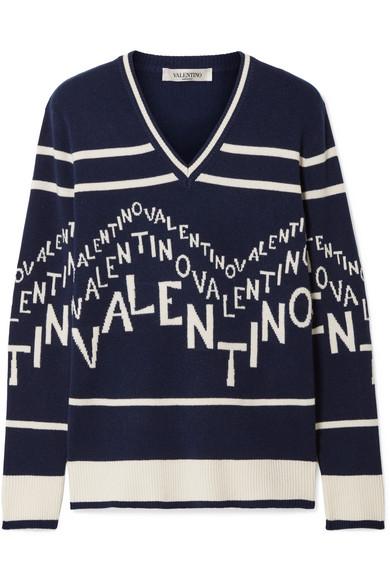 Valentino Chevron Logo Wool & Cashmere V-Neck Sweater In Navy