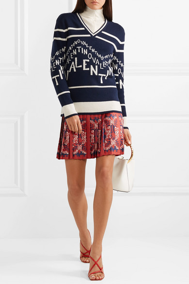 Valentino Knits Intarsia wool and cashmere-blend sweater