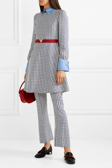 Valentino Pants Printed wool and silk-blend flared pants
