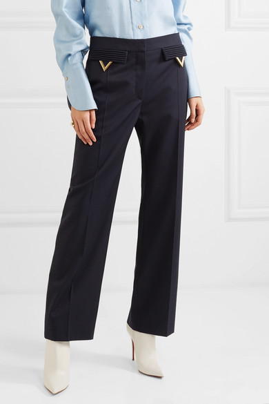 Valentino Pants Cropped wool-gabardine straight-leg pants