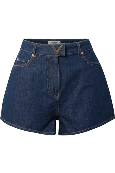 High Waist Cotton Denim Shorts in Dark Denim