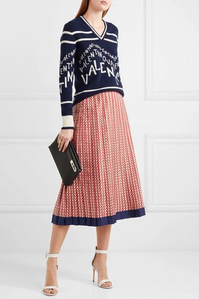 Valentino Skirts Pleated printed silk-twill midi skirt