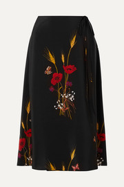 Valentino Floral-print silk crepe de chine wrap skirt