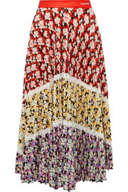 Valentino Lace-trimmed pleated floral-print crepe midi skirt