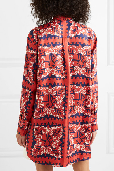 Valentino Tops Pussy-bow printed silk-satin twill blouse