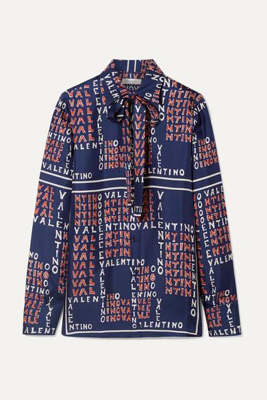 VALENTINO | Valentino - Pussy-bow Printed Silk-twill Shirt - Navy | Goxip