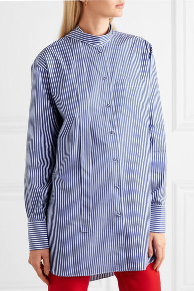 Valentino Shirts Oversized striped cotton-poplin shirt