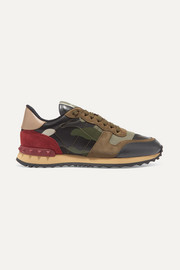 Valentino Garavani Rockrunner leather and suede-trimmed camouflage-print canvas sneakers