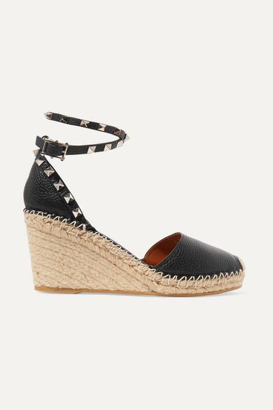 3fd005c1ccb6 Valentino. Valentino Garavani The Rockstud 85 textured-leather espadrille  wedge sandals
