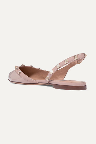 Valentino Garavani Rockstud Flache Slingback Schuhe Aus Lackleder by Valentino