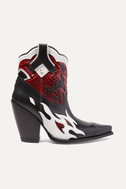 Valentino Valentino Garavani Ranch 95 leather and python ankle boots